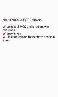 NTU HP1000 intro to psychology question bank