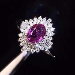 18K白金 無燒紫羅蘭色鑽石戒指