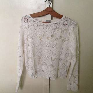Long sleeve see thru knitted