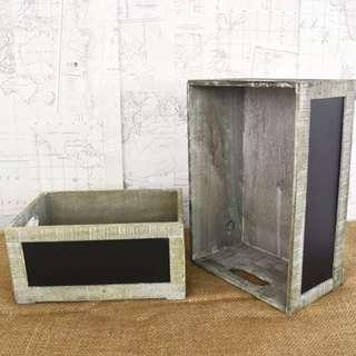 RENT: Grey Chalkboard Crates (S, M) $15