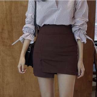 Maroon uneven chic skirt