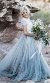 Grey blue bridesmaid tulle skirt