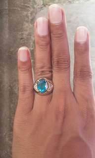 Cincin Natural Blue Topaz