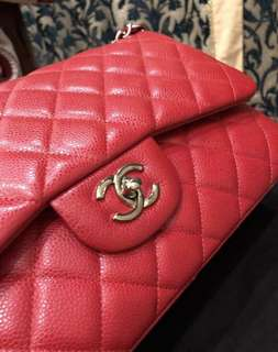 Pre-loved Chanel Jumbo Red Caviar SHW