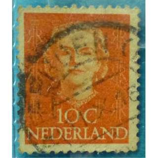 Stamp Netherlands 1949 Queen Juliana (1909-2004)- Type 'En Face' 10c