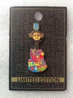 Hard Rock Cafe Pins - IBIZA HOT & RARE 2015 LOVE PEACE & YOU GUITAR PIN!