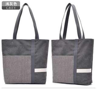 🚚 【Q夫妻】 shoulder bag 簡約 撞色 大容量 手提包 帆布包 休閒包 單肩包 女包 淺灰色 B0509-1