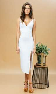 Bralet midi dress with slit (white)