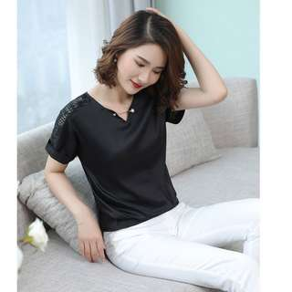 BN Korean Style Black V neck Lace Blouse with Unique Gold Barbell Pearl Brooch