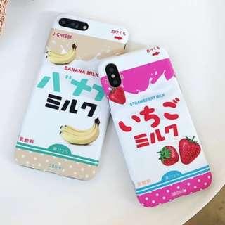 手機殼IPhone6/7/8/plus/X : 日系草莓香蕉牛奶全包邊軟殼