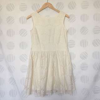 KOREAN WHITE LACED DRESS MEDIUM