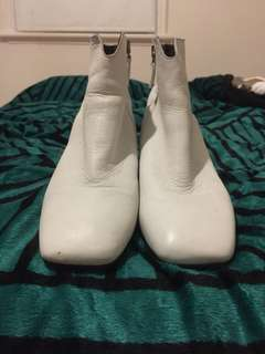 Topshop white leather boots