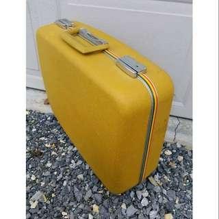 罕見美國老物vintage古董蜂蜜黃硬殼行李箱 古著老件 可當拍攝陳列道具