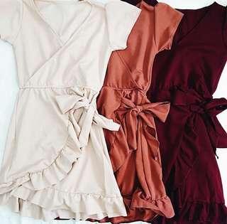 OVERLAP PLAIN DRESS