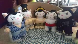 BN Sushi King restaurant soft toy collectible mascots (complete set)