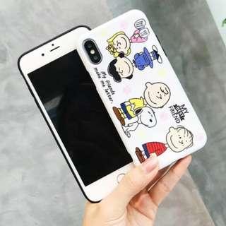 手機殼IPhone6/7/8/plus/X : 卡通白底史努比家族全包黑邊軟殼