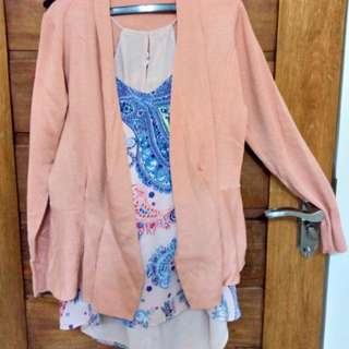 Sexy Pink Blouse And Cardigan