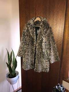 Brand new faux fur leopard print coat
