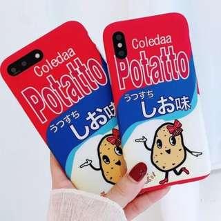手機殼IPhone6/7/8/plus/X : 創意卡樂B薯片包裝全包邊磨砂軟殼