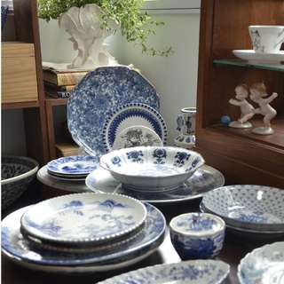 Vintage Blue and White Plates & Bowls, price from $30 to $120