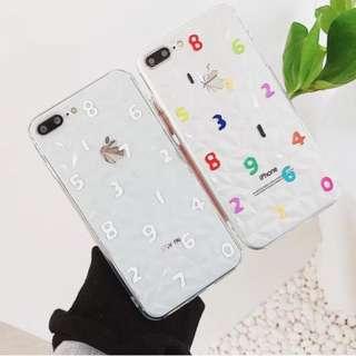 手機殼IPhone6/7/8/plus/X : 創意彩色數字鑽石紋全包邊透明軟殼