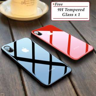Iphone 5 5s SE 6 6s 7 8 Plus Case Tempered Glass Back Cover