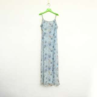🚚 二手 藍色 印花 彈性 薄紗 綁帶 洋裝 明太子 604