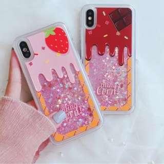 手機殼IPhone6/7/8/plus/X : 草莓朱古力閃粉流沙全包邊軟殼