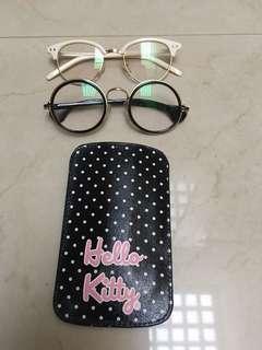 Kacamata no minus dan pouch hp (3 item) preloved