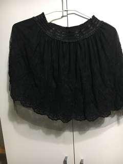全🎤黑蕾絲蓬蓬氣質短裙🎭