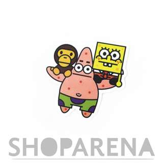 Patrick Carrying Spongebob and Aape Matte Sticker Decal