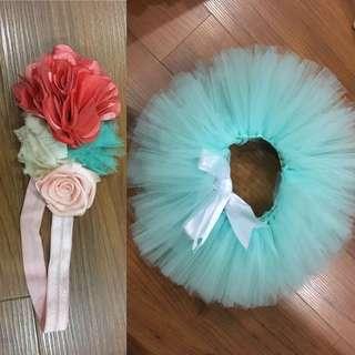 Tutu dress & flower hairband (nego)