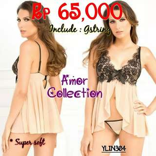 Lingerie seksi super soft kuning (YLIN304) By AMORCOLLECTION