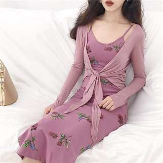 Sexy pink floral maxi dress