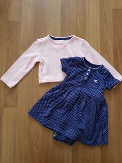 Carters romper dress with cardigan (9m)