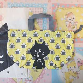 日本Ne-net貓貓黃色飯團飯袋午餐便當tote bag