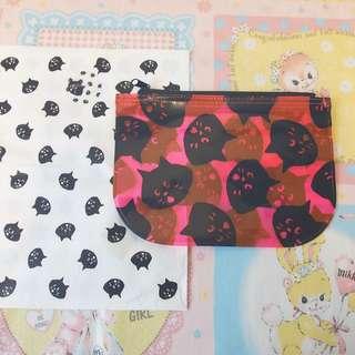 日本ne-net貓貓透明收納袋銀包散紙bag