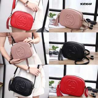 Gucci Soho Shoulder Bag 308364#22  Bahan kulit (togo leather) Dalaman kain Kwalitas High Premium AAA Tas uk 21x7x16cm Berat 0,6kg  Warna : -Babypink -Black -Red  Harga  @550rb