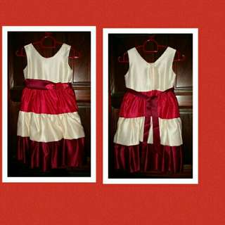 Girl Red Ribbon Party Dress