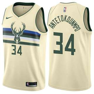 Men 34 Giannis Antetokounmpo Jersey Cream City Edition Bucks