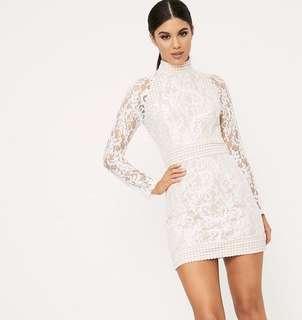 [BNWT] PLT White Lace High Neck Bodycon Dress