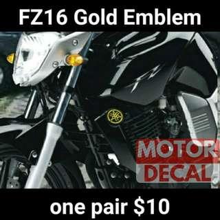 Fz16 Gold Yamaha Emblem 2pc
