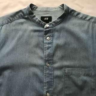 H&M Denim Mao Collar Shirt