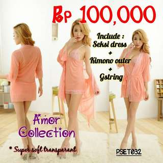 Lingerie seksi super soft (PSET032) By AMORCOLLECTION