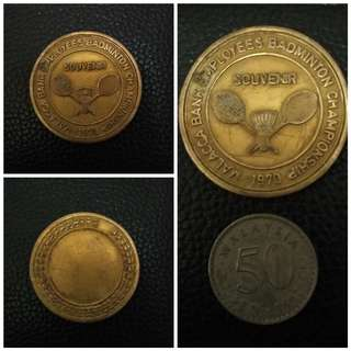 Medal Malacca Bank Employees Badminton Championship 1970