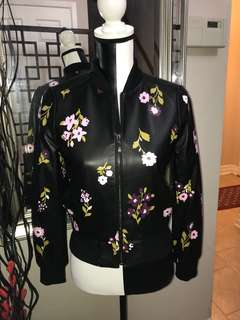 """NWT Kate Spade """"In Bloom"""" Leather Bomber Jacket"""