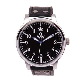 WOW DREW MAN WATCH LEATHER STRAP BLACK
