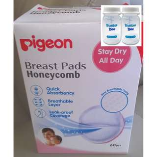 Pigeon Disposable Breast Pad (Free 5oz BPA-Free PP Bottles)