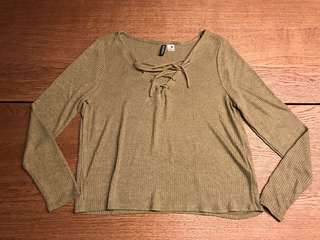 H&M Olive Lace Up Top