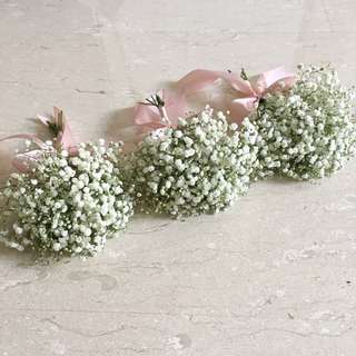 Bridesmaids Bouquet in Baby Breath with Ribbon colour of your choice